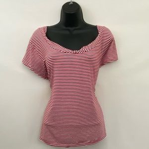 George PLUS SIZE 1X Red & White Striped Blouse J52